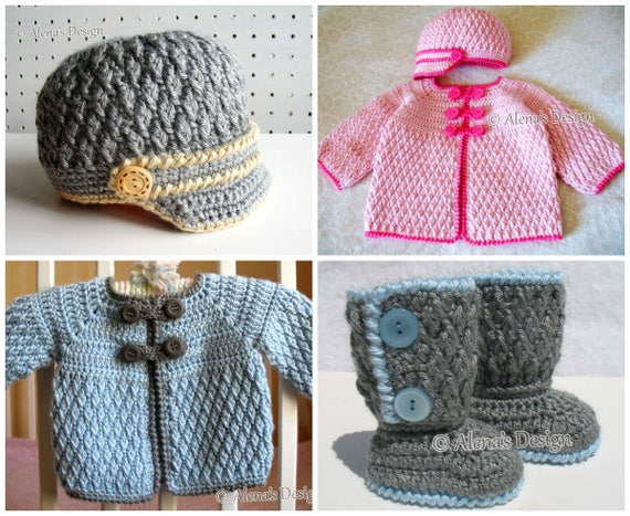 Crochet PATTERN Set in four sizes Buttoned Baby Booties Baby Visor Hat Baby Jacket Newborn Baby Boy Baby Girl Crochet Patterns Baby Shower