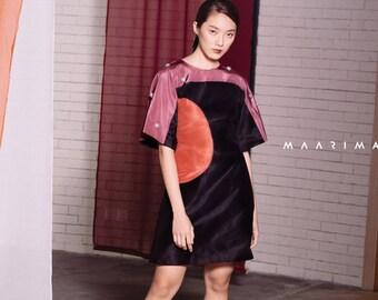 Maarimaia Kimono Sleeve Silk Mini Dress Black | Colour Block | 3D Embellishment | Oversize Sleeve | Cocktail | A Line Dress | Kimono Sleeve