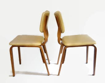 Mid Century Modern Thonet Chairs, Pair Vintage Thonet Bentwood Chairs,  Retro Bent Ply