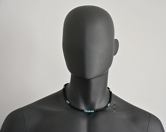 Mens Stone Necklace - Men's Jewelry - Stone Necklace - Surfer Necklace - Men's Necklace - Beaded choker -  Black Onyx & Howlite Turquoise
