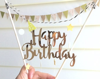 Gold Happy Birthday cake topper garland bunting decoration