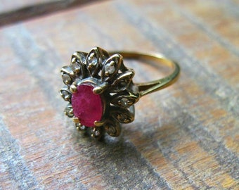 Small Vintage Diamond & Ruby Ring - 10K - Missing One Diamond - As Is - Cluster - Cocktail Ring - Dinner Ring