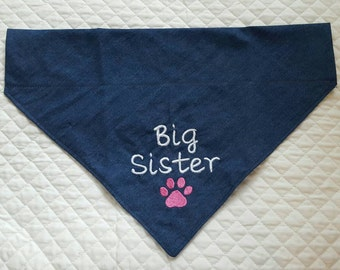 Big Sister Dog Bandana, Over Collar,Denim Dog Bandana, Pet Supplies, Pet Accessories, Pet Clothing, Pets,New Baby Announcement, Pet Neckwear