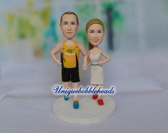 running wedding cake topper, custom wedding cake topper, cake topper for wedding, bride and groom cake topper, cake topper look like you