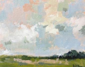 ORIGINAL landscape painting green landscape blush pink art acrylic painting on canvas mantel decor design cloud scape