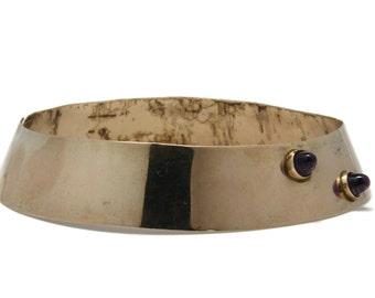 Modernist Sterling Silver Amethyst Stud Collar Necklace, Vintage Made in Germany