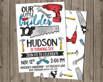 Tools Birthday Invite - Construction Birthday Party - Tools Theme Invite - 5x7 JPG DIGITAL FILE (Front and Back Design)