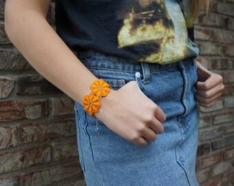 Orange Floral Bracelet