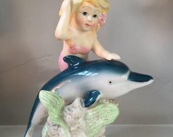 Vintage Ceramic Mermaid on Dolphin