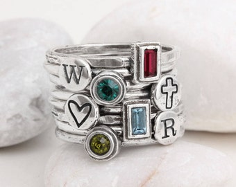 Stacking Family Ring Set includes 4 Initial Stack Rings and 4 Birthstone Rings in Sterling Silver. Mothers Ring Handmade by Toozy.