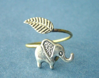 Elephant wrap ring, adjustable ring, animal ring, silver ring, statement ring