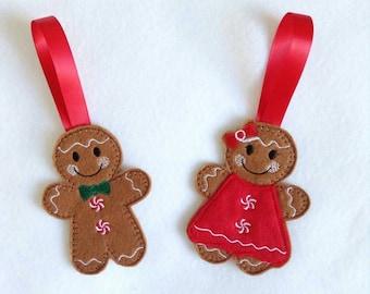 Traditional Christmas decorations, Christmas tree decorations felt, gingerbread men, gingerbread man tree decoration, felt christmas