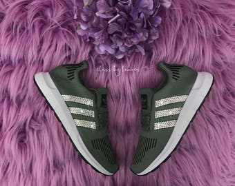 Olive Adidas Swift Run Customized with Swarovski Crystals
