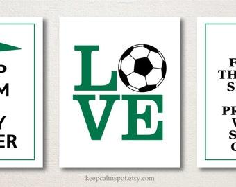 Girl's Soccer Print Set, Keep Calm & Play Soccer, This Princess Wears Soccer Cleats, Set of 3, Teens Tweens