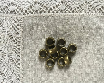 10 Pcs. Big Hole AntiQue Bronze Metal Bead/ Spacer 10 mm