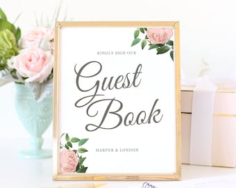 Wedding Guest Book Sign, Printable Guestbook Sign, Wedding Signs, Party Signs, Vintage Botanical | SUITE028