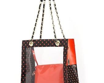 Andrea clear tailgate tote - black and orange