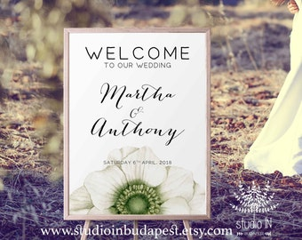 Welcome Sign, Wedding Welcome Sign, green Wedding Sign, Reception Sign, Green wedding poster, PRINTABLE
