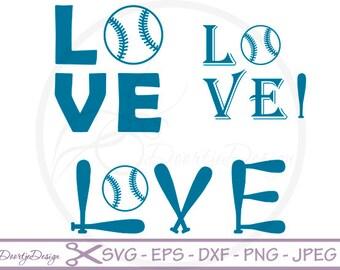 Love Baseball SVG for cutting machines, SVG files Baseball, silhouette DXF files, Vinyl cut, svg files for cricut baseball, Silhouette files