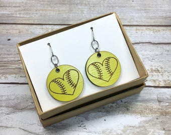 Softball Earrings, Softball Jewelry, Baseball Earrings, Baseball Jewelry, Softball Gift, Softball Player, Softball Mom, Baseball Mom, Game