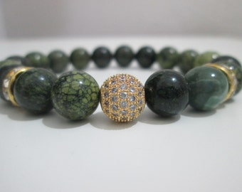 Russsian serpentine Womens jewelry Womens bracelet Gemstone bracelet Natural stone bracelet Mala bracelet Womens gift Gift for her Micropave