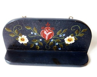 Handmade and Vintage Tole Painted Shelf. Country Kitchen, Nursery Decor