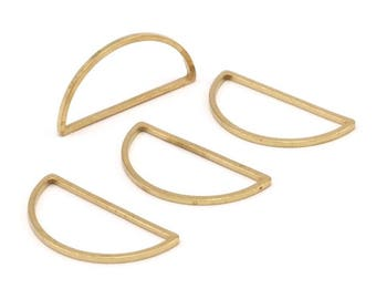 Brass Half Moon - 24 Raw Brass Semi Circle Connectors (15x30x1.2mm) Bs 1173