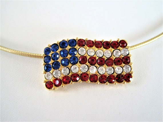 Red White Blue Flag Necklace, Patriotic Choker, Rhinestone Flag Pendant, Patriotic Necklace