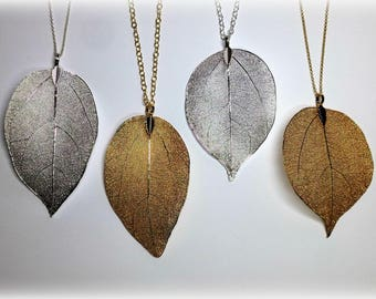 Real Leaf Necklace Long Necklace for Women Outdoor Mother Gift for Mothers Day Jewelry Gift for Women Boho Natural Jewelry Leaf Pendant