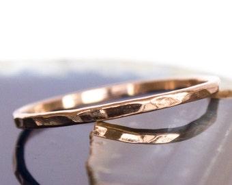 Solid 14k Hammered Rose Gold Stack Ring Sz 9 thru 12