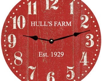 Personalized Red Clock- Barn Red Clock