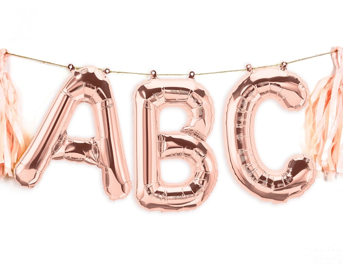 "Featured listing image: 16"" Custom Rose Gold Balloon Banner, Wedding, Birthday, Bridal Shower, Baby Shower, Balloon Prop, Letter Balloon, Rose Gold Decor,Party,Grad"