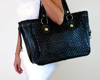 Black leather tote bag - oversized leather bag - large black leather tote - laptop tote bag - leather laptop bag - black leather tote zipper