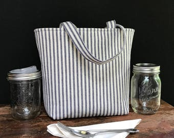 Mason jar carrier bag, Pint 2 jar Jars to Go blue ticking stripe mason canning jar zero waste lunch tote bag