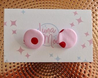 Pink Polka Dot Stud Earrings
