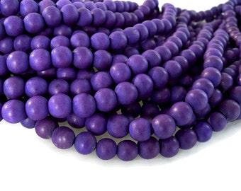 Purple wood round beads - Purple Wooden Beads 10mm - 40pcs