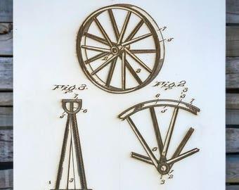 J. McCallum's Wagon Wheel - Wood Burned Patent