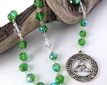 Iridescent Green Celtic Triquetra Pagan Rosary // Prayer Beads // Danu // Brigid // Druid // Wiccan // Goddess