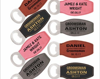 Gift for Groomsmen-Best Man Bottle Openers Gift Set of 8, Personalized Groomsman Leather Magnetic Thank You Wedding Favors Customized Gifts.