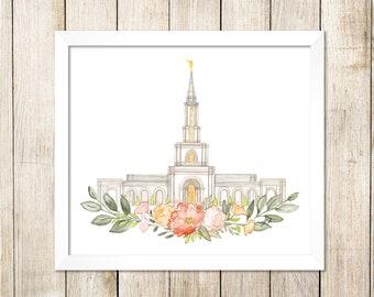 Sacramento, CA LDS Temple Watercolor Print