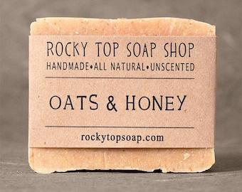 Oats & Honey Soap - All Natural Soap, Handmade Soap, Cold Process Soap, Unscented Soap, Mens Soap, Mens Skincare, Exfoliating Soap