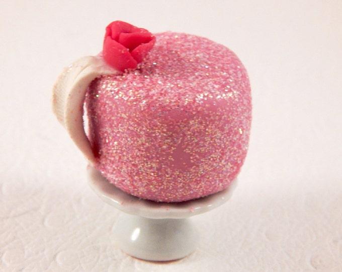 Handmade Polymer clay Pink Cake , Miniature food, miniature food jewelry