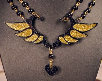 Acrylic Black and Gold Wing Necklace and Hairclip set