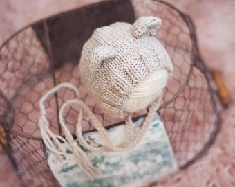 Baby Bear bonnet for NEWBORNS photography prop - Neutrals