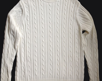 SALE:  Ivory Cotton Cable Knit Sweater