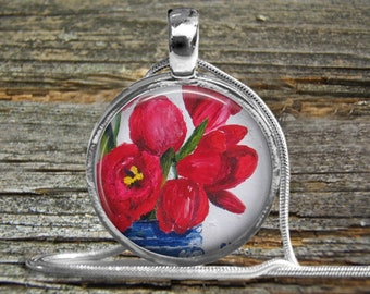 Red Tulips Necklace Original Oil Painting-Free Shipping-Silver Pendant Necklace-Wedding-Bride-Mothers Day Gift-Mother Bride-Girlfriend-Woman