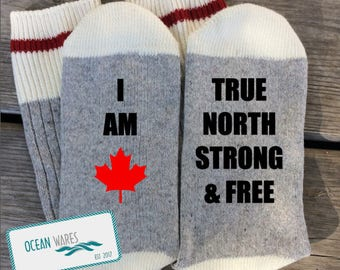 SUPER SOFT Novelty Word Socks, Canadian socks, Canada, gift, True north strong and free, novelty socks, personalized socks
