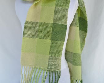 Handwoven Three Shades of Green Wool Scarf