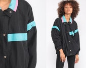 Black Jacket Windbreaker Jacket 80s Coat Bomber Jacket Turquoise Blue Striped Hipster Vintage 90s Cotton Medium