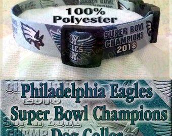 Underdog Philadelphia Eagles Fly Eagles Fly Super Bowl Champions 2018 Polyester Webbing NFL Football Designer Novelty Dog Collar